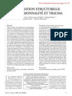 Dissociation Structurelle de La Personnalité Et Trauma