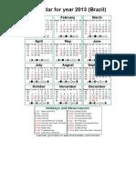 Year 2013 Calendar – Brazil