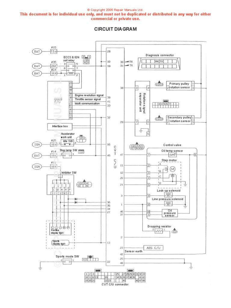 nissan cvt wiring diagram throttle electrical components rh scribd com Nissan Pathfinder Wiring Diagram Nissan Schematic Diagram