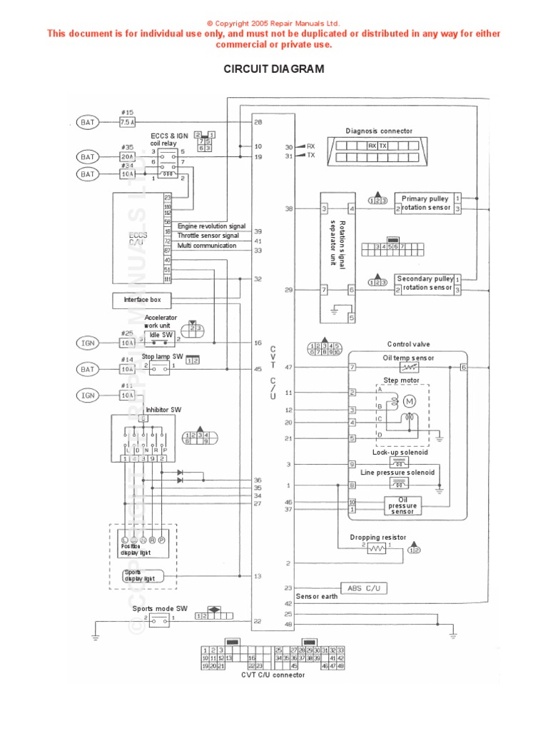nissan cvt wiring diagram throttle electrical components rh scribd com nissan wingroad y11 wiring diagram Wire Diagram On a 97 Nissan 240