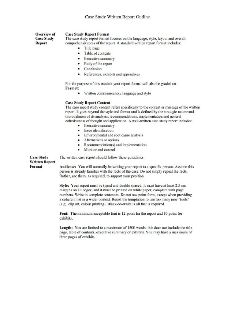 case study paper outline