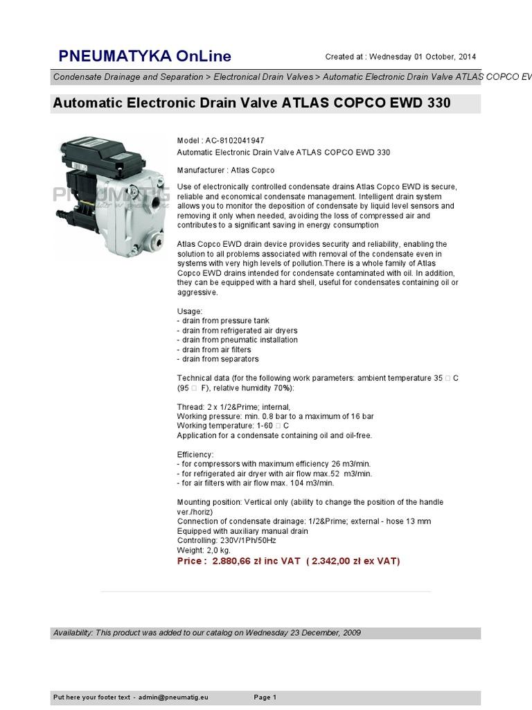 automatic electronic drain valve atlas copco ewd 330 en rh scribd com ewd 330m manual atlas copco ewd 330 manual