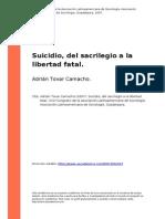 Suicidio, Del Sacrilegio a La Libertad Fatal
