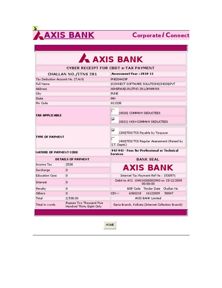 CBDT E PAYMENT CHALLAN AXIS BANK PDF