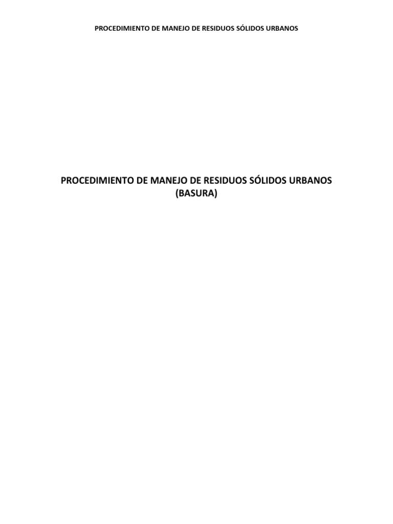 Procedimiento de Manejo de Residuos Solidos Urbanos (Basura