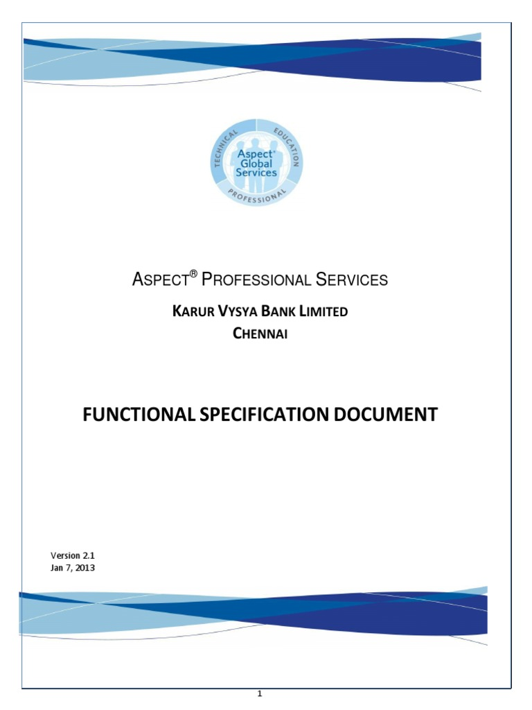 functional specification document interactive voice response