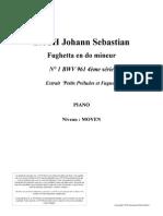 Fughetta en do mineur N° 1 BWV 961 4ème série (Extrait Petits Préludes et Fugues)