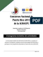 Cronograma - Competencia Nacional P.R. ACM-ICPC