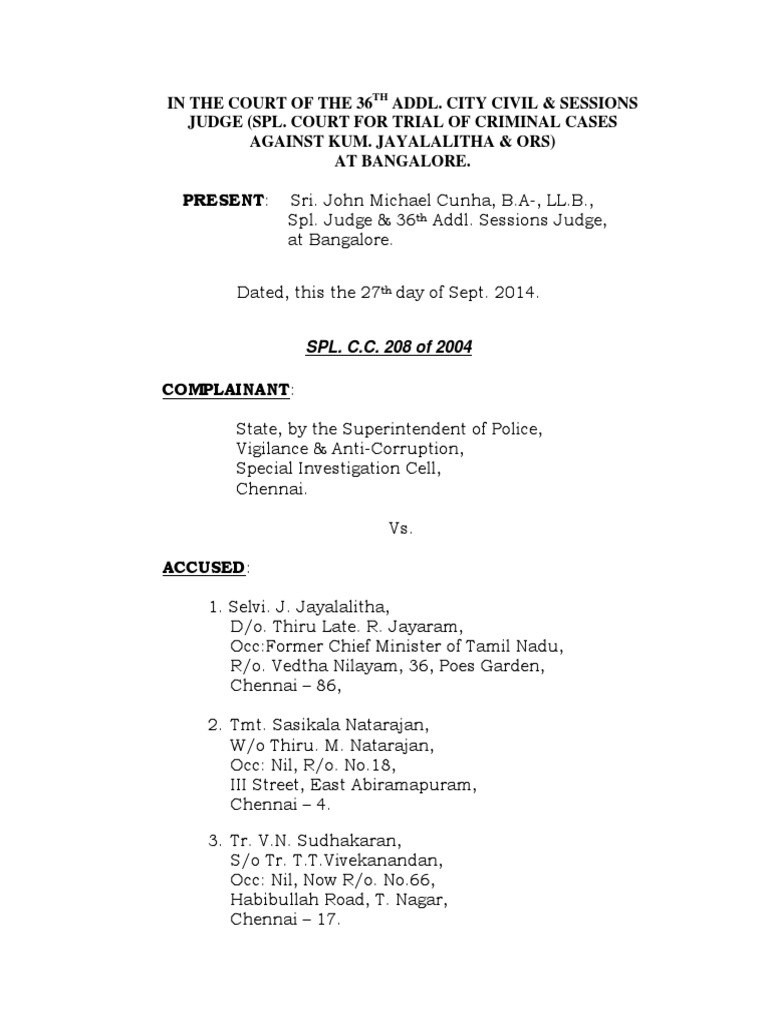 Jayalalitha assets judgment under prevention of corruption act jayalalitha assets judgment under prevention of corruption act prosecutor witness aiddatafo Gallery