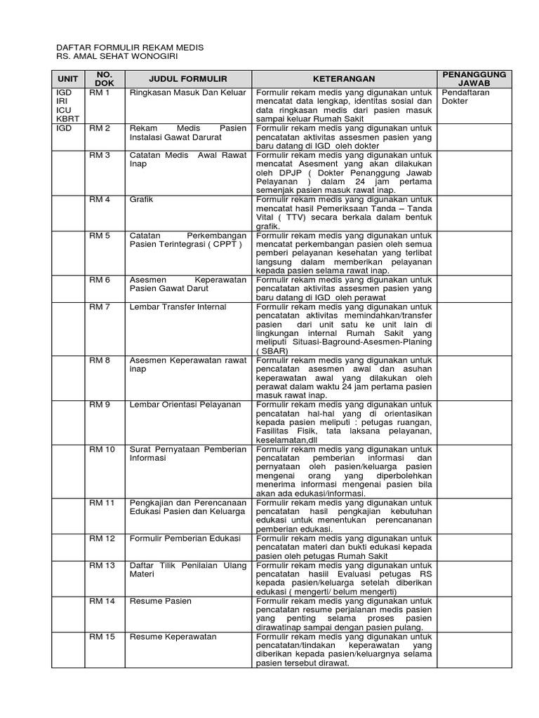 daftar formulir rekam medis docx