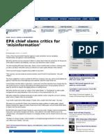 EPA Chief Slams Critics for 'Misinformation'