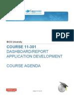 BICGU 11-301 Dashboard Reports Course Agenda