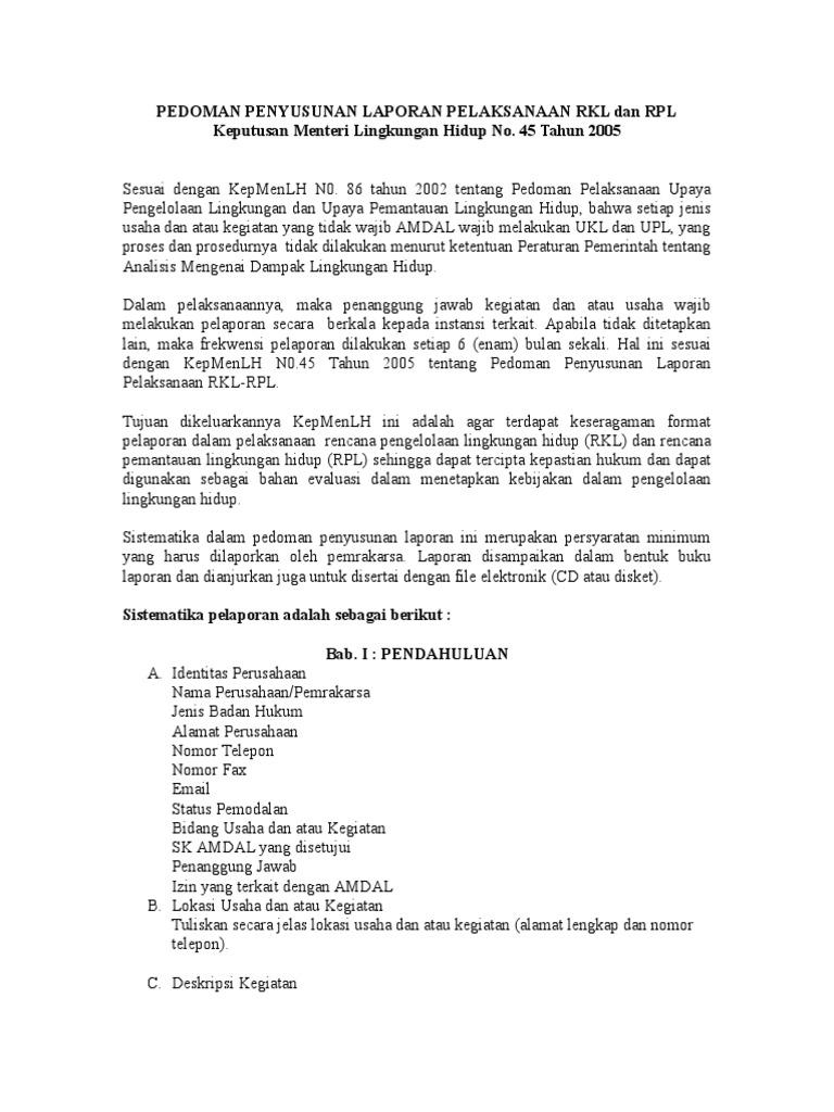 Pedoman Penyusunan Laporan Pelaksanaan Rkl Dan Rpl Doc