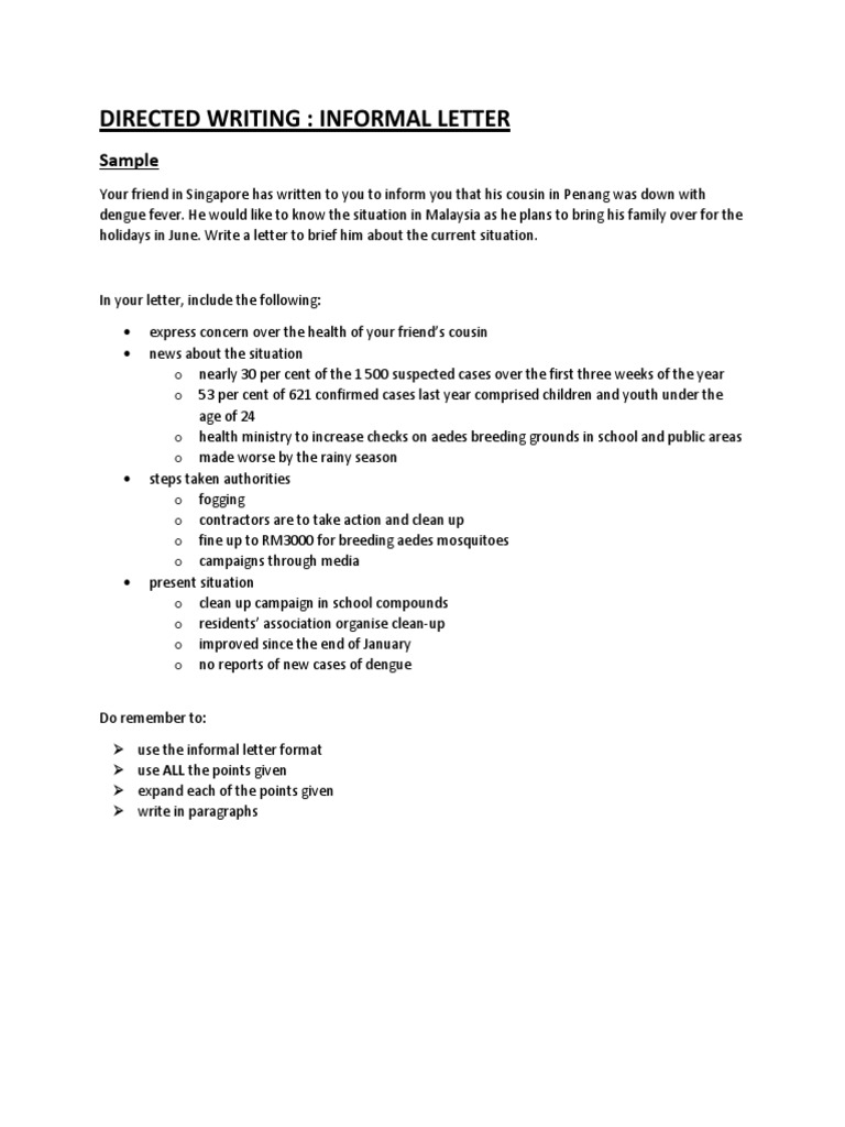 directed writing informal letter sample vocabulary punctuation