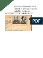 Fișa de Încarcerare a Deținutului Nicolae Steinhardt