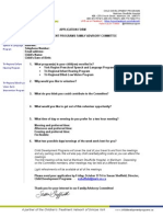Family Advisory Committee Application Form