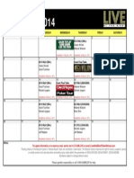 October 2014 Live at the Bike Schedule