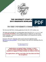 University Staff Club 2015 Scholarship Flyer
