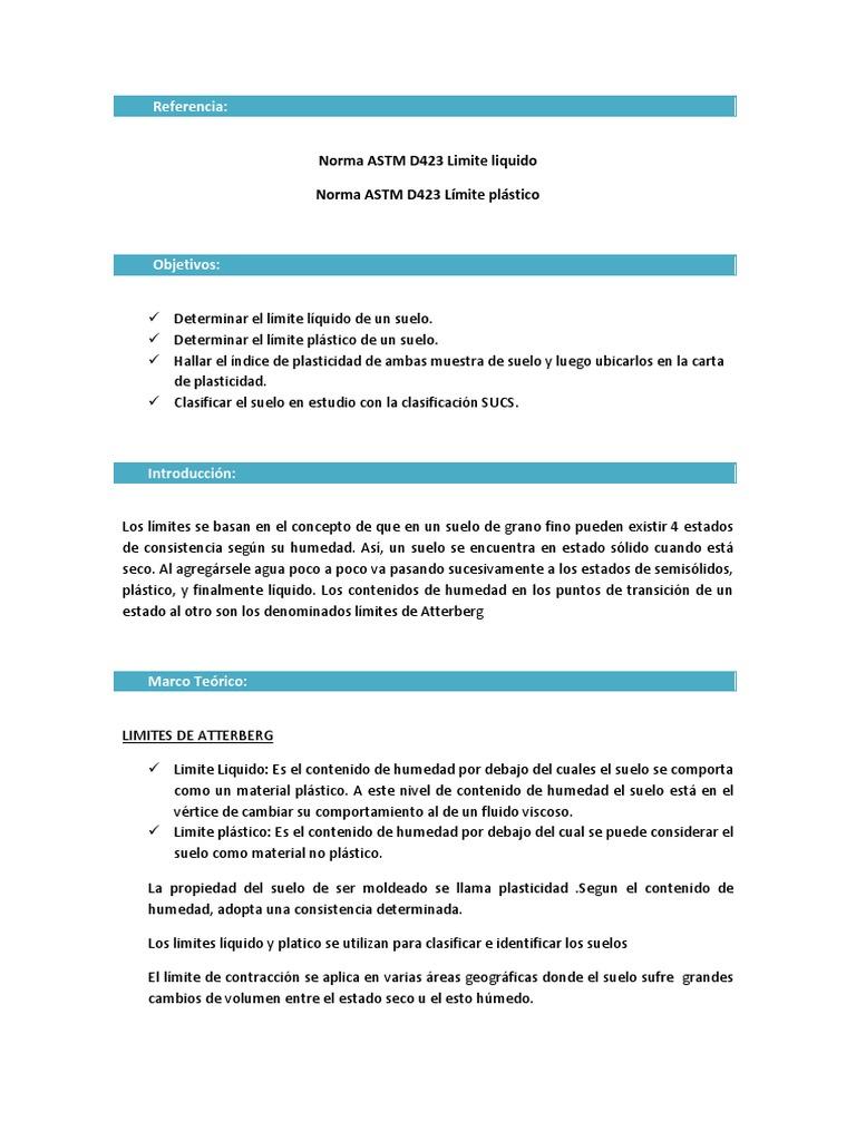 Norma ASTM D423 Limite liquido Norma ASTM D423 Límite plástico