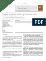 Economics Letters Volume 115 Issue 2 2012 [Doi 10.1016%2Fj.econlet.2011.12.026] Giulia Bettin; Riccardo Lucchetti; Alberto Zazzaro -- Financial Development and Remittances- Micro-econometric Evidence