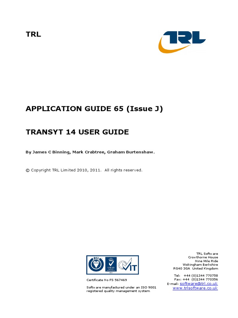 transyt 14 user guide pdf traffic personal computers rh scribd com  Manipulative Relatives
