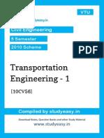 Civil v Transportation Engineering Unit 1,2,3,4,5,6,7,8