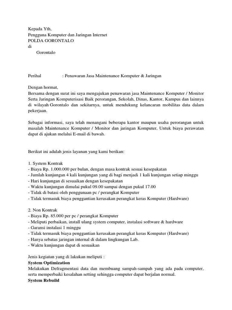 Contoh Proposal Usaha Service Komputer Doc Berbagi Contoh Proposal