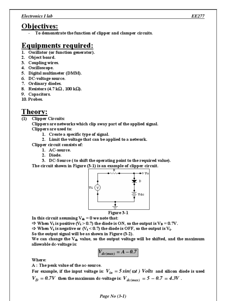 Clippers And Clampers Electrical Engineering Electric Power Circuit As Shown In Fig This Can Be A Voltage Signal