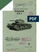 Preliminary Report No. 10 - Russian KV-1