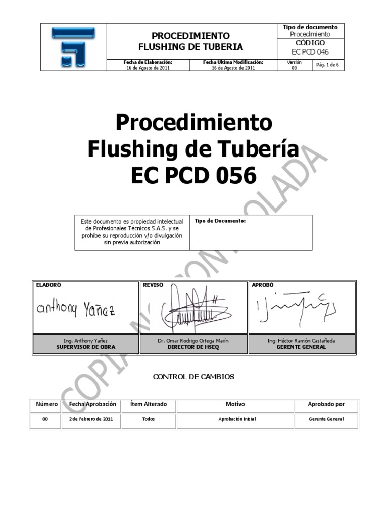 Proc. Flushing de Tuberia EC PCD 046.pdf