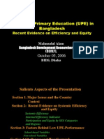 Universal Primary Education (UPE) in BangladeshRecent Evidence on Efficiency and Equity