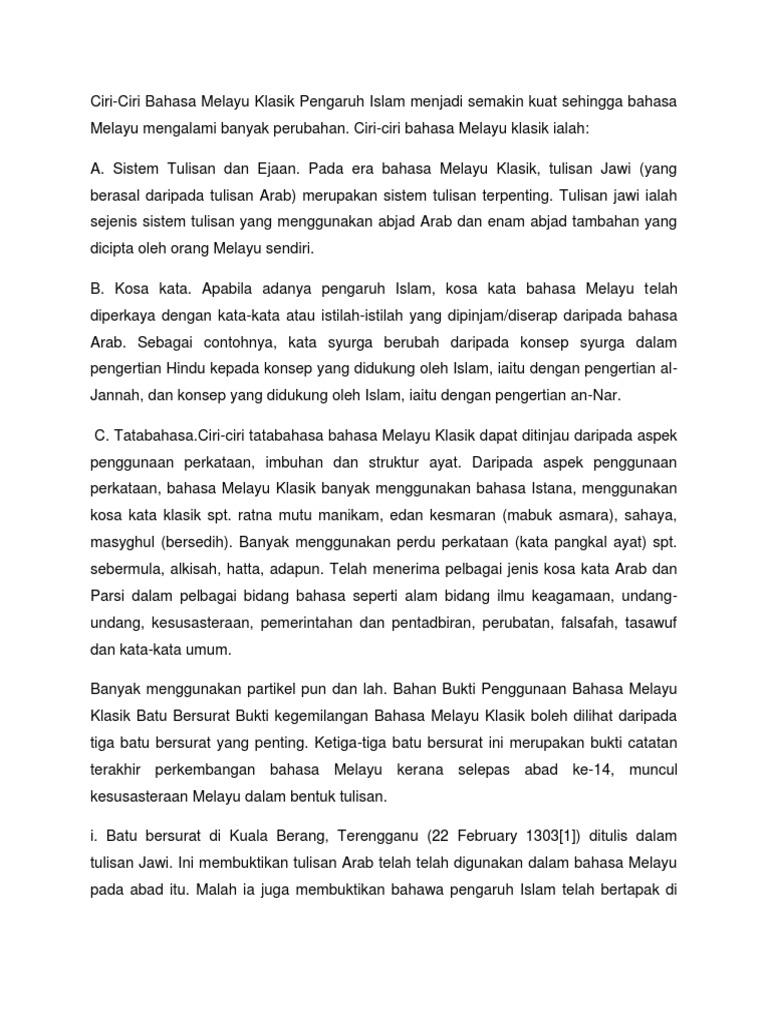 Ciri Ciri Bahasa Melayu Klasik