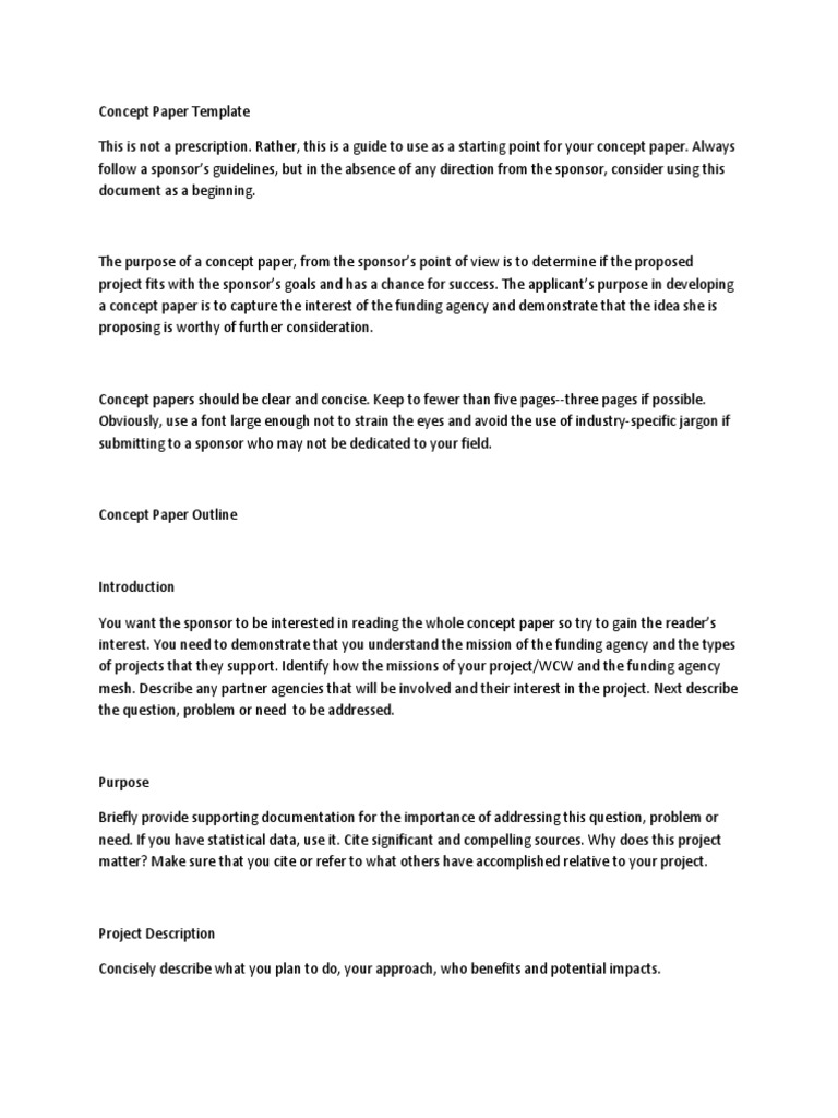 concept paper template goal business