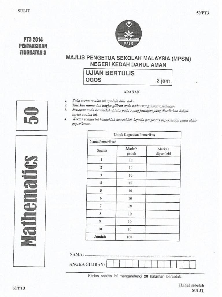 239767217 Soalan Percubaan Pt3 Kedah Matematik 2014 Pdf