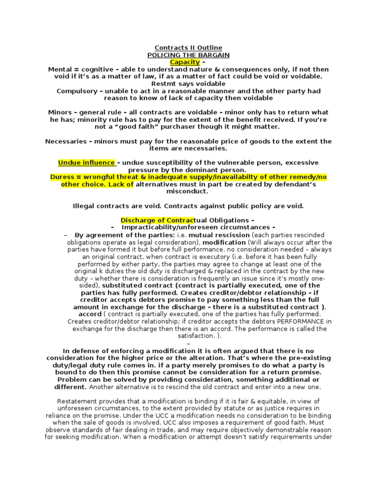 Contracts ii outline fall 2009 consideration breach of contract platinumwayz