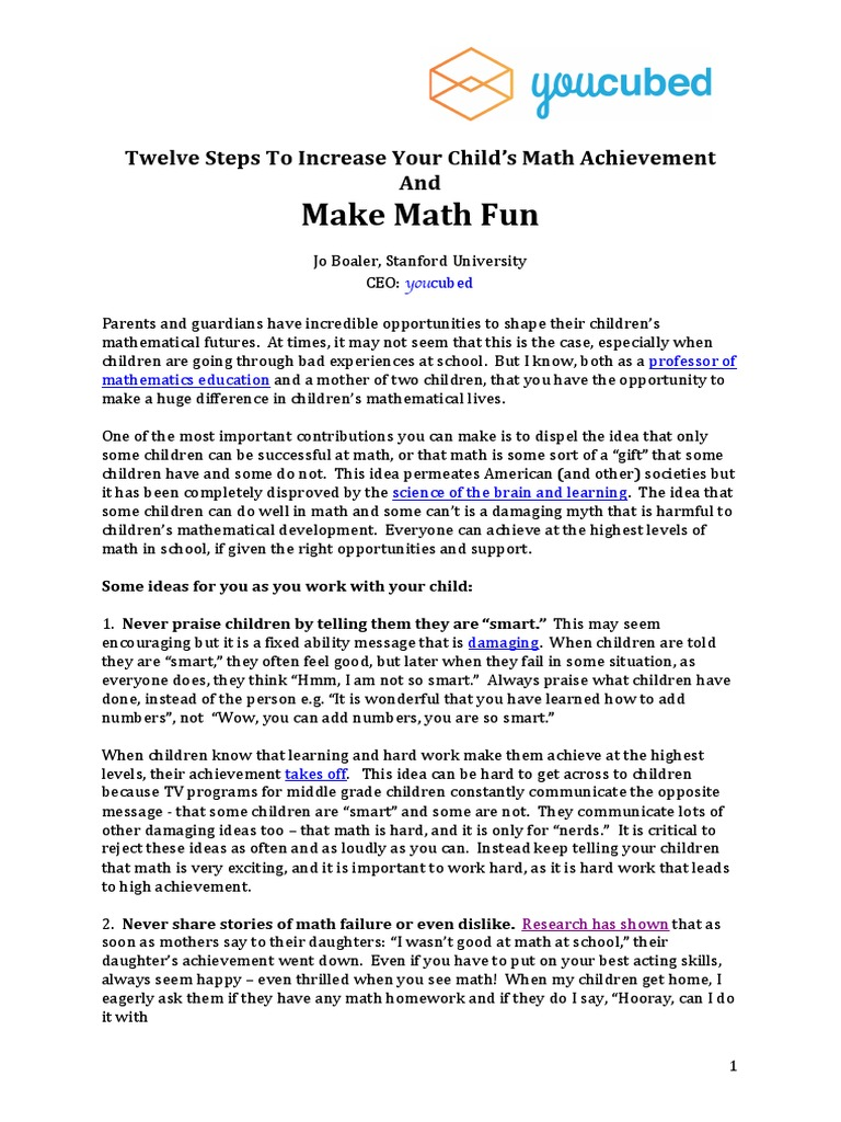 parents make math fun | mathematics | physics & mathematics
