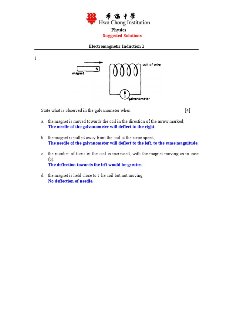 Answer of Electromagnetic Induction 1_09 | Electromagnetic Induction ...
