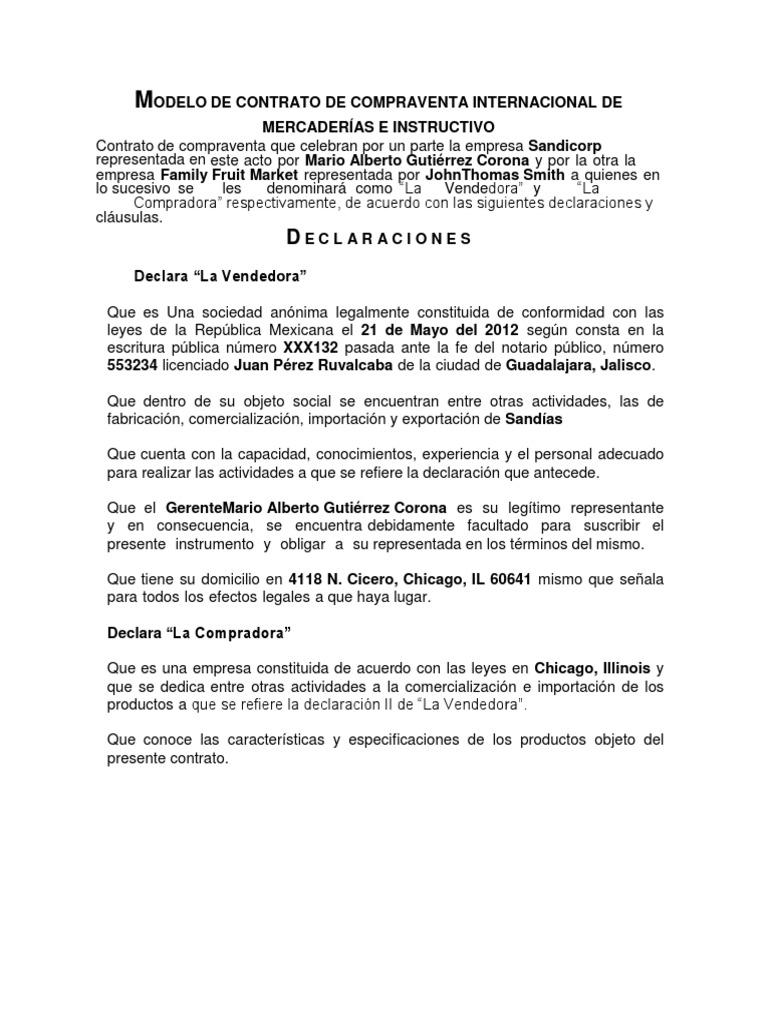 MODELO DE CONTRATO DE COMPRAVENTA INTERNACIONAL DE MERCADERÃ-AS E ...