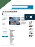 List of Teamwork Skills
