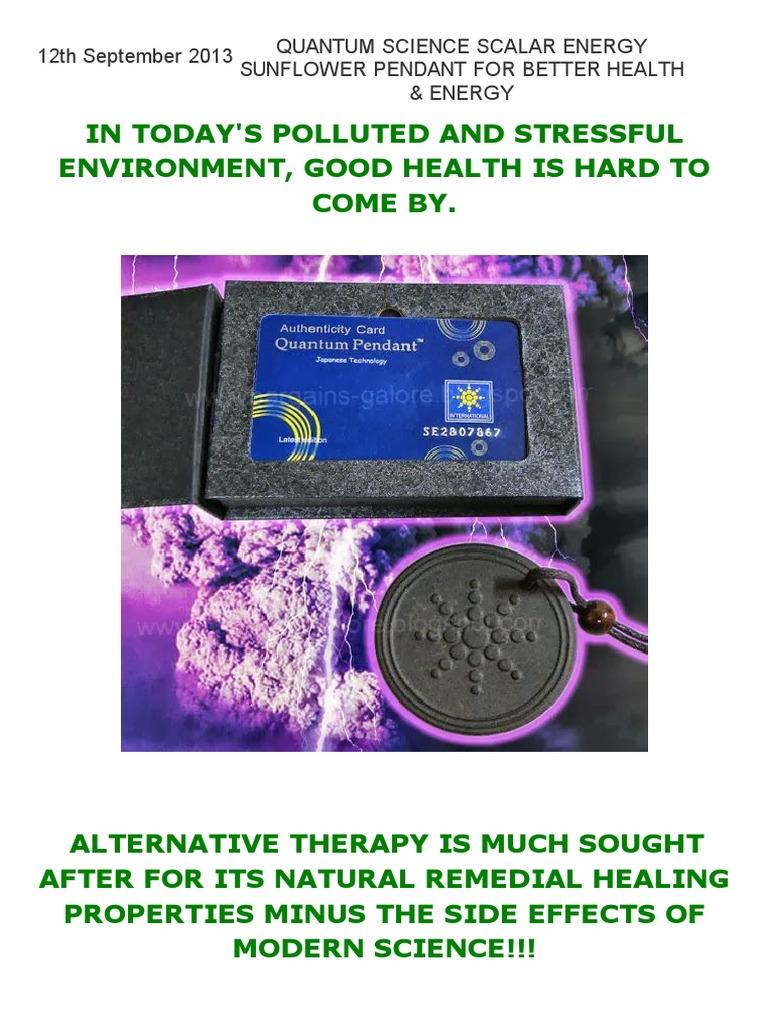 QUANTUM SCIENCE SCALAR ENERGY SUNFLOWER PENDANT FOR BETTER HEALTH