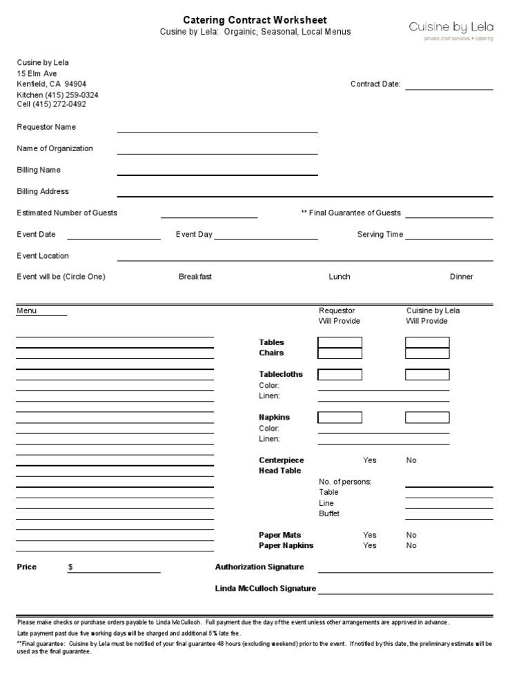 Catering contract templatexls1 altavistaventures Image collections