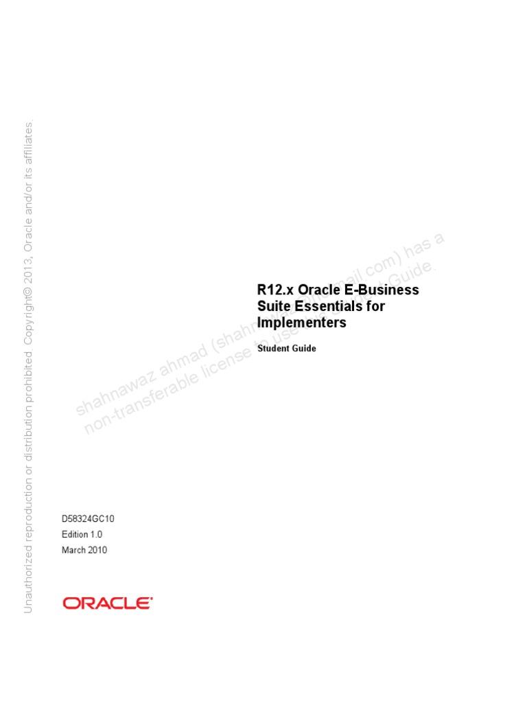 R12.x Oracle E-Business Suite Essentials for  Implementers_D58324GC10_sg-D66000.pdf | Business Intelligence | Oracle  Corporation