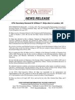 CPA Secretary-General Dr William F. Shija dies in London, UK