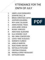 Perfect Attendance for the Month of July