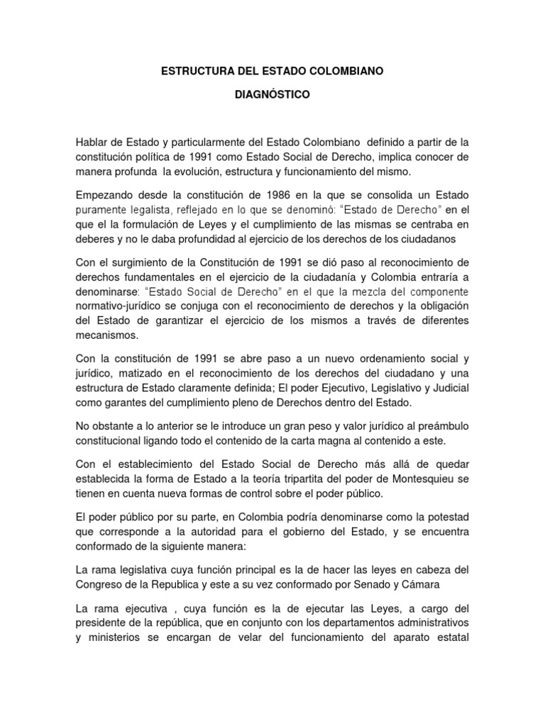 Diagnostico Estructura De Estado Colombiano Docx State