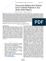Incidence of Concurrent Malaria and Typhoid Fever Infections in Febrile Patients in Jos Plateau State Nigeria