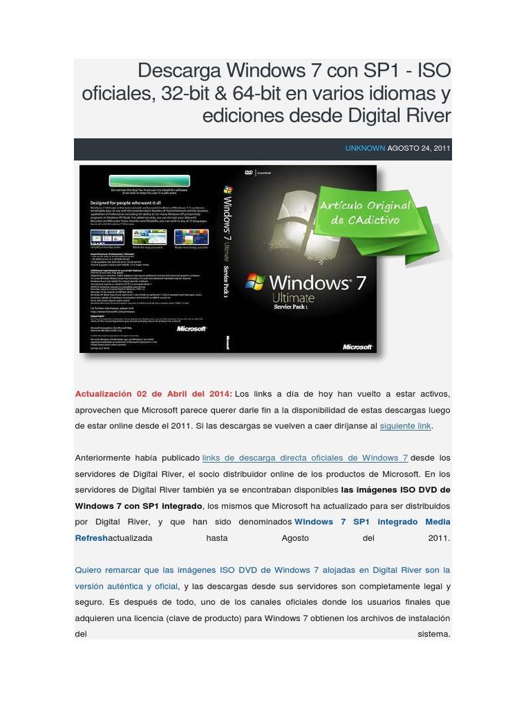 descargar windows 7 sp1 32 bits iso