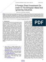 The Impact of Foreign Direct Investment on Technology Transfer in the Ethiopian Metal and Engineering Industries