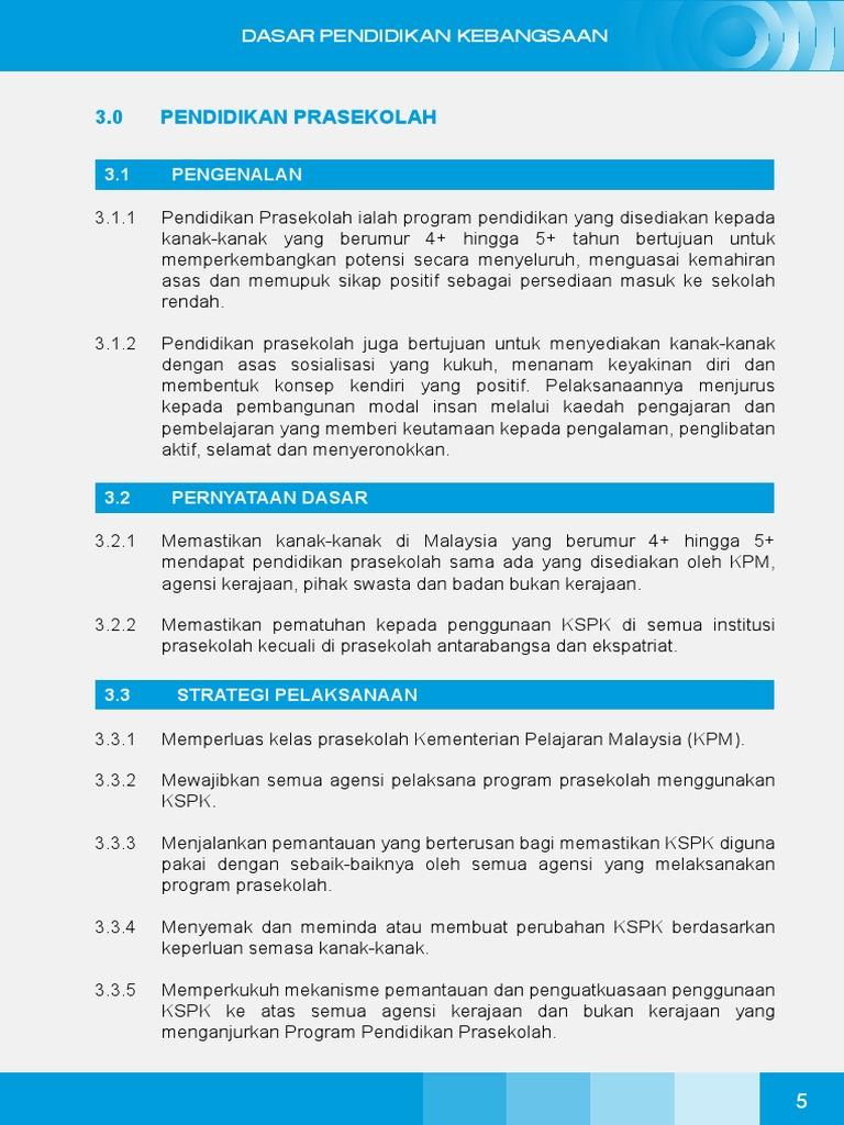 Dasar Pendidikan Prasekolah Malaysia Pdf