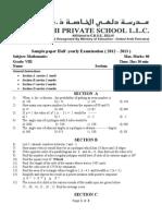 Sample Paper Gr 8 New